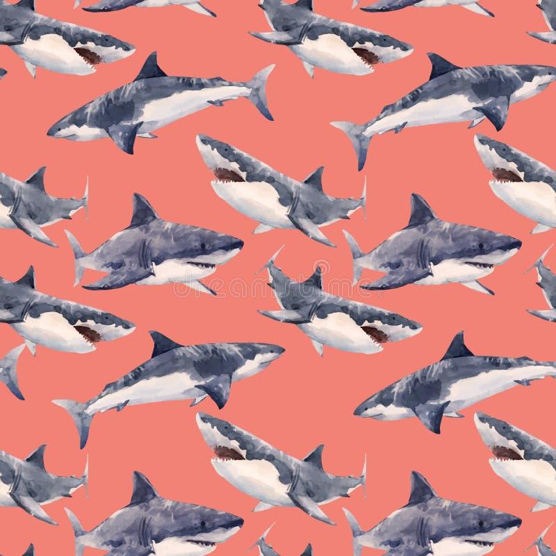 Het vectorpatroon van de waterverfhaai royalty-vrije illustratie