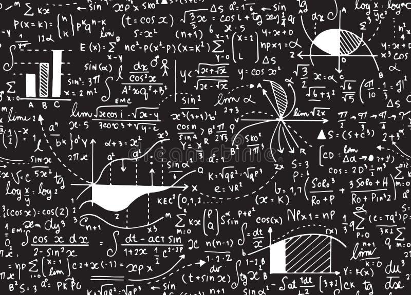 Het vectorpatroon van het wiskundeonderwijs met met de hand geschreven formules, taken, vector illustratie