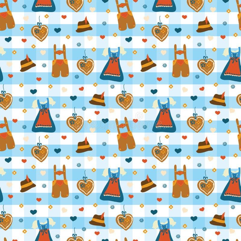 Het vectorpatroon van Lederhosen Oktoberfest van de Dirndlkleding stock illustratie