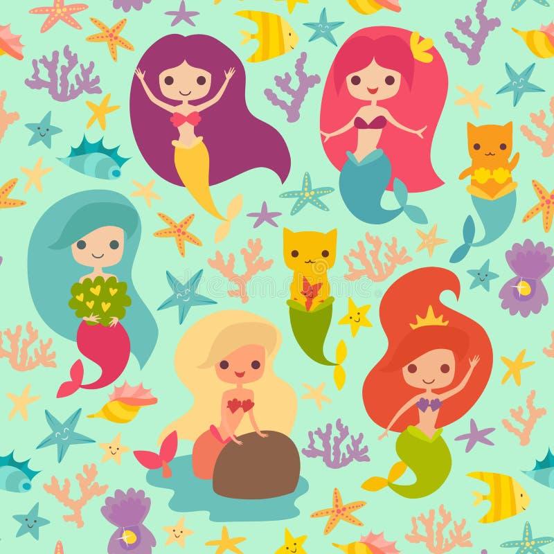 Het vectorpatroon van meerminnenmeisjes stock illustratie