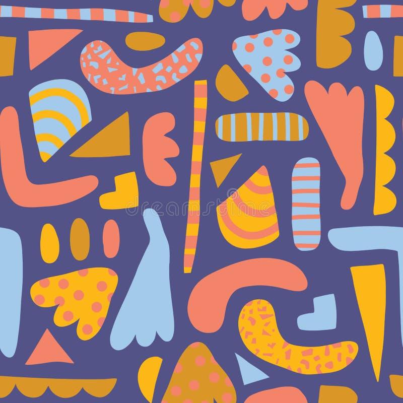 Het vectorpatroon van moderne Abstracte vormen blauwe gouden roze naadloze kinderen Eenvoudige eigentijdse elementenachtergrond royalty-vrije illustratie