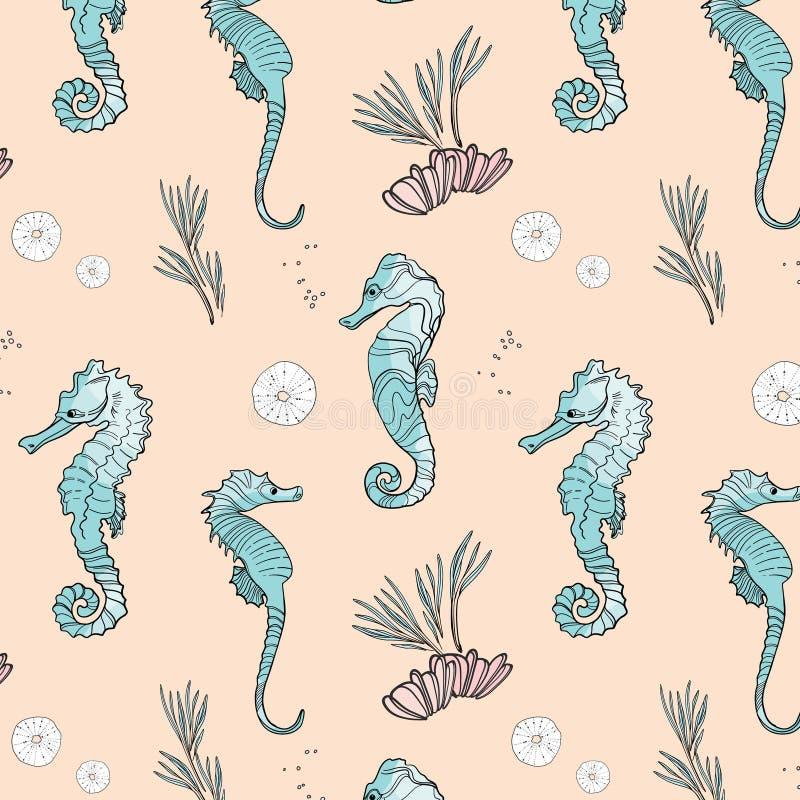 Het vectorpatroon van seahorsedieren Oppervlaktedekking met leuke onderwater mariene vissen De oceaanachtergrond van de het leven stock illustratie