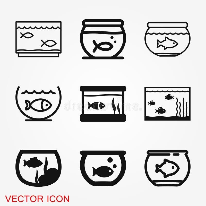 Het vectorpictogram van aquariumvissen Het vlakke pictogram van aquariumvissen voor uw ontwerp stock fotografie