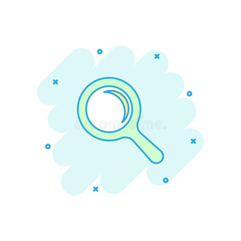 Het vectorpictogram van het beeldverhaalvergrootglas in grappige stijl Zoek magn vector illustratie