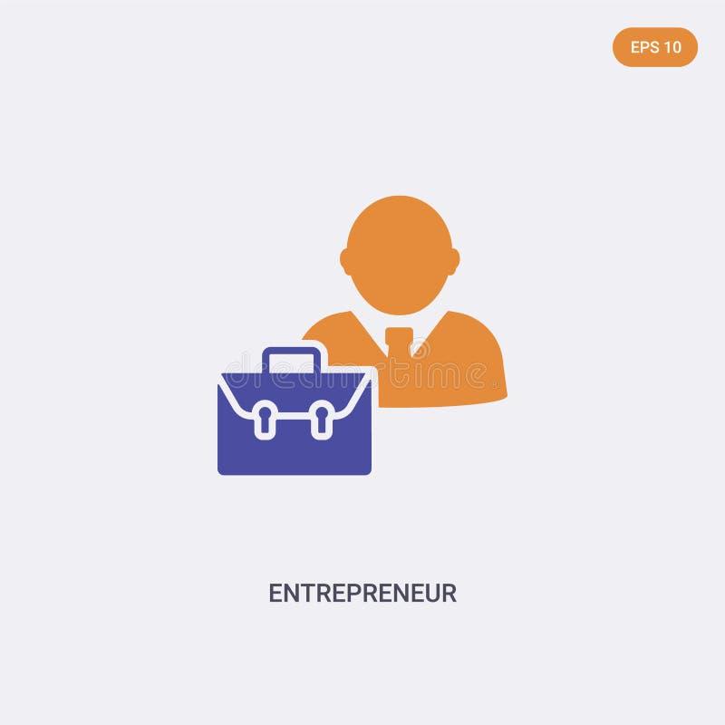 2 het vectorpictogram van het begrip van de ondernemer van de kleur geïsoleerde twee kleurensectoren van het Entrepreneur-teken,  stock illustratie