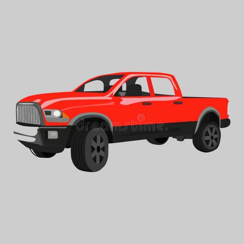 Het vectorpictogram van bestelwagenmitsubishi L200 4wd op een grijze achtergrond Vrachtwagenillustratie die op grijs wordt geïsol stock illustratie
