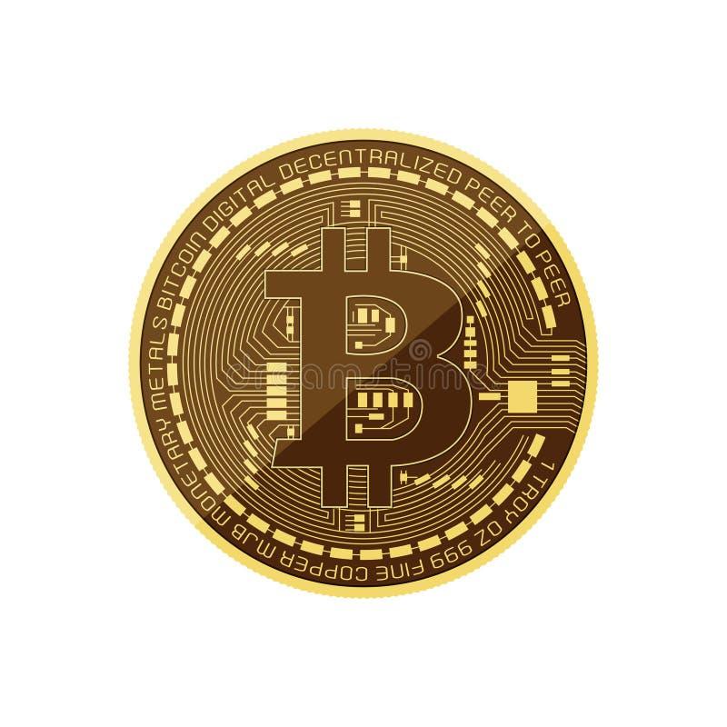 Het vectorpictogram van bitcoincryptocurrency, futuristisch digitaal geldsymbool wereldwijd Geïsoleerdj op witte achtergrond vector illustratie