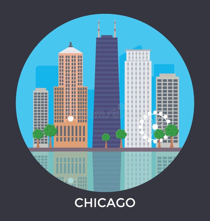 Het Vectorpictogram van Chicago de V.S. vector illustratie