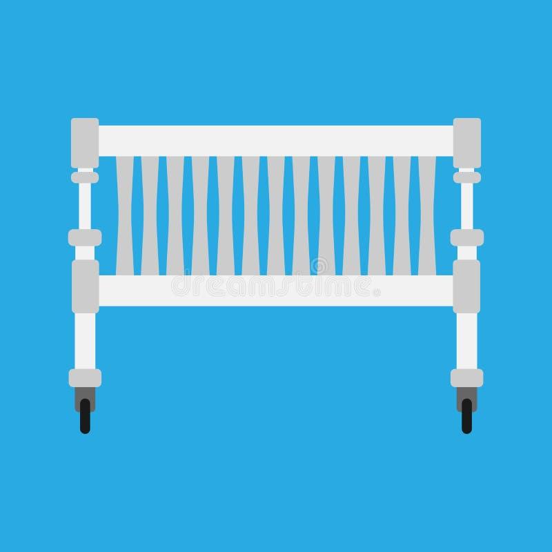 Het vectorpictogram van de babywieg newbord Van het de zorgbeeldverhaal van het kindbed het leuke witte symbool Het meubilair van royalty-vrije illustratie