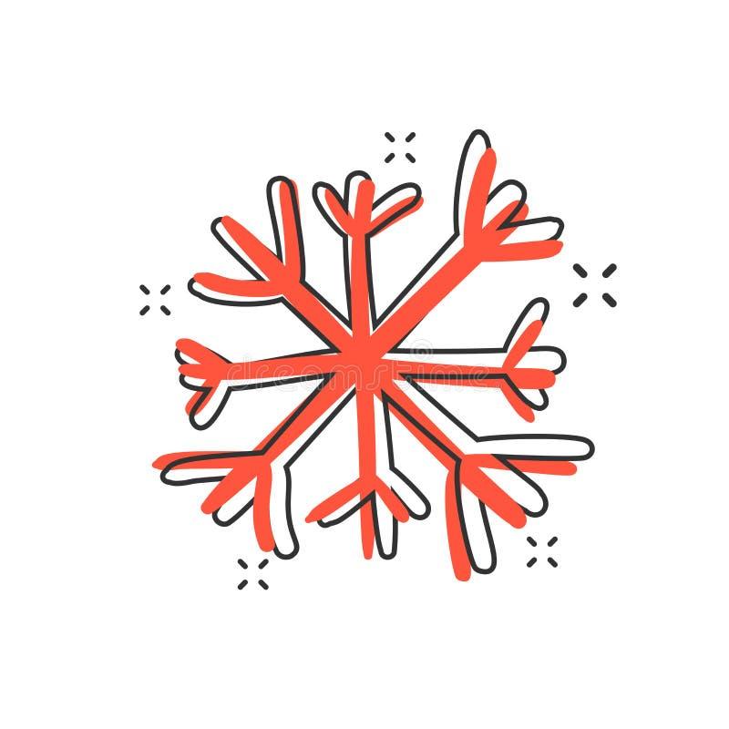 Het vectorpictogram van de beeldverhaalhand getrokken sneeuwvlok in grappige stijl Sneeuwfl stock illustratie