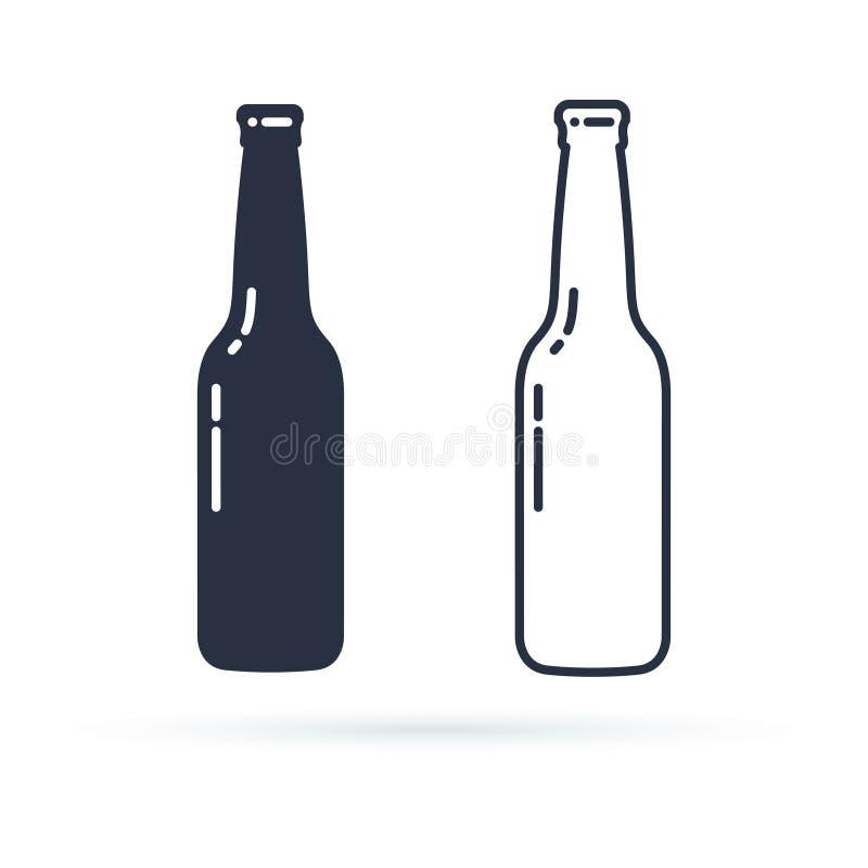 Het vectorpictogram van de bierfles Gevulde die alcoholdrank en lijnpictogrammen op een witte achtergrond worden geplaatst vector illustratie