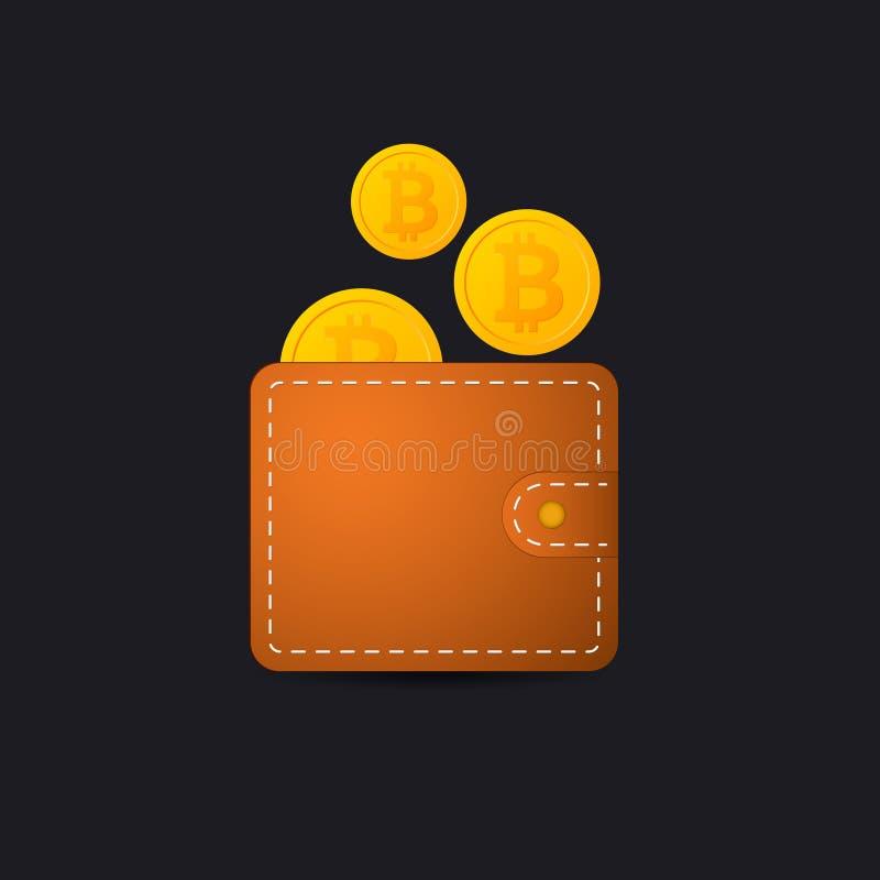 Het vectorpictogram van de Bitcoinportefeuille stock illustratie