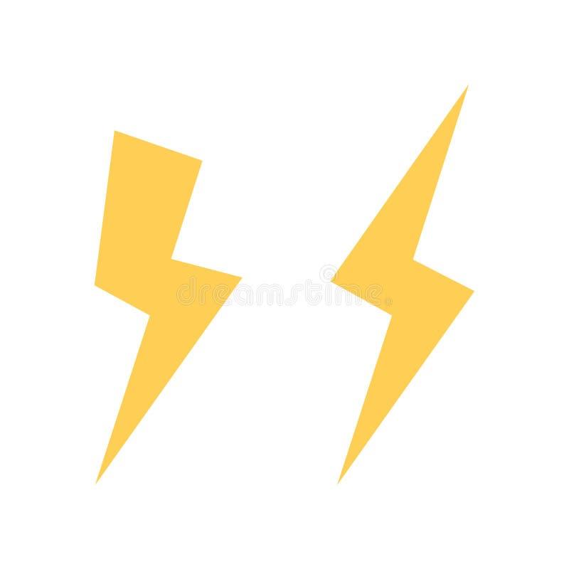 Het vectorpictogram van de bliksembout Flitspictogram Bout van bliksemvector Strook van licht teken Het elektrische pictogram van vector illustratie