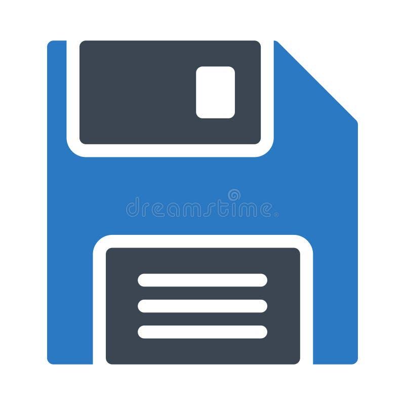 Het vectorpictogram van de diskette glyph kleur royalty-vrije illustratie