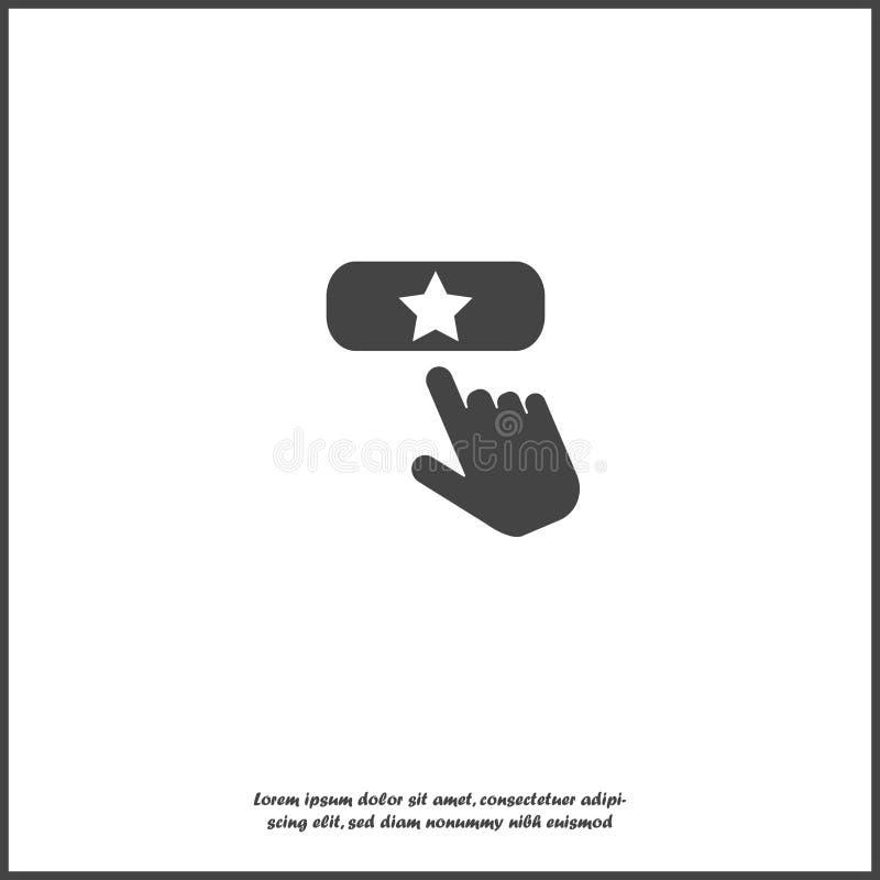 Het vectorpictogram van de Favoritknoop De hand drukt toevoegt favoriete knoop Internet op wit geïsoleerde achtergrond stock illustratie