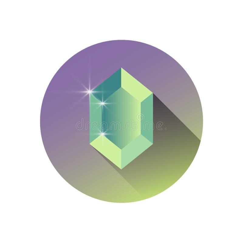 Het vectorpictogram van de gemsteen in vlakke stijl Diamond Vector Icon royalty-vrije illustratie