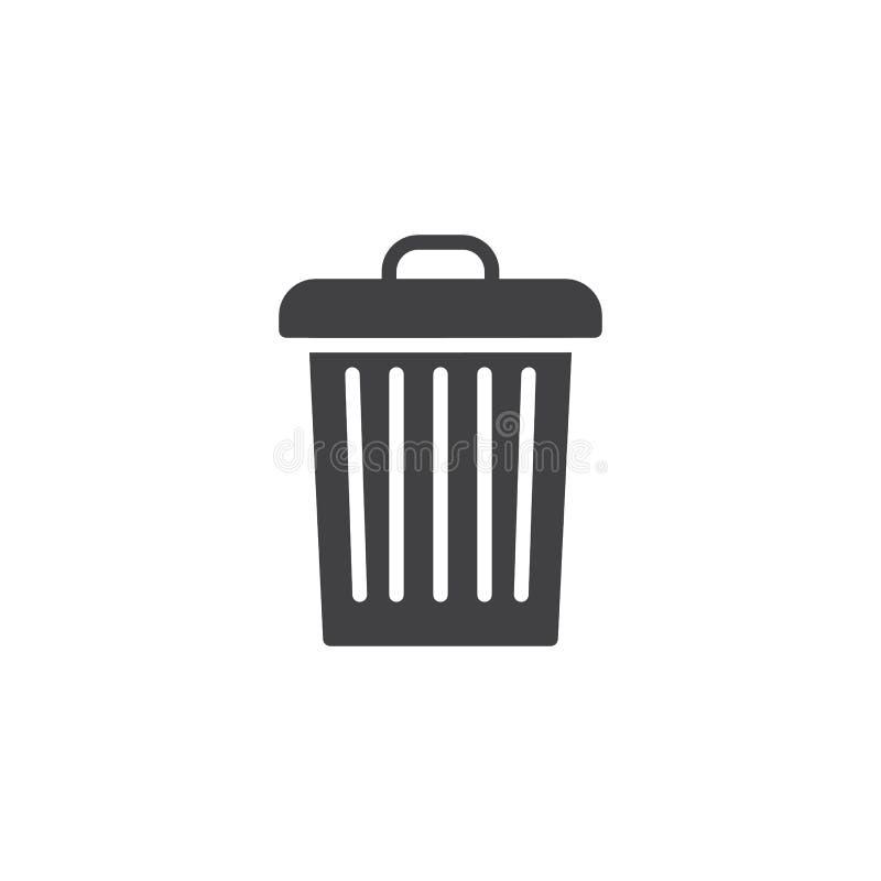 Het vectorpictogram van de huisvuilbak stock illustratie