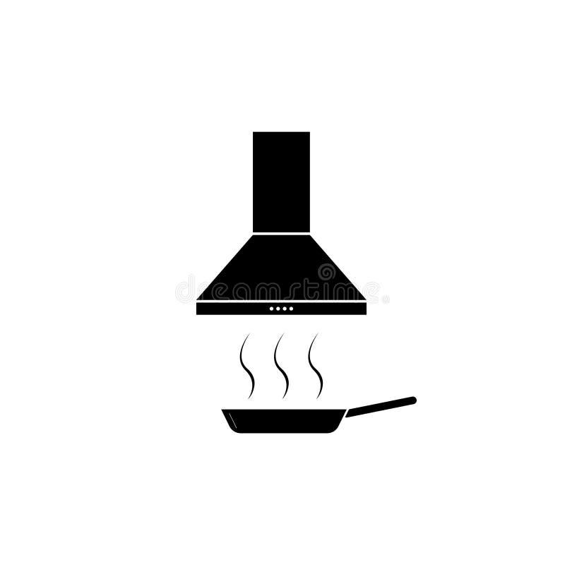 Het vectorpictogram van de keukenkap Uitlaatkap Afzuigkap Het teken van de keukenventilatie frying stock illustratie