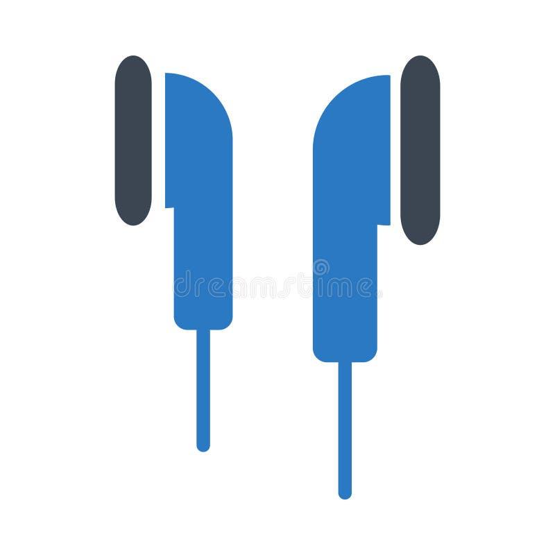 Het vectorpictogram van de oortelefoon glyph kleur royalty-vrije illustratie