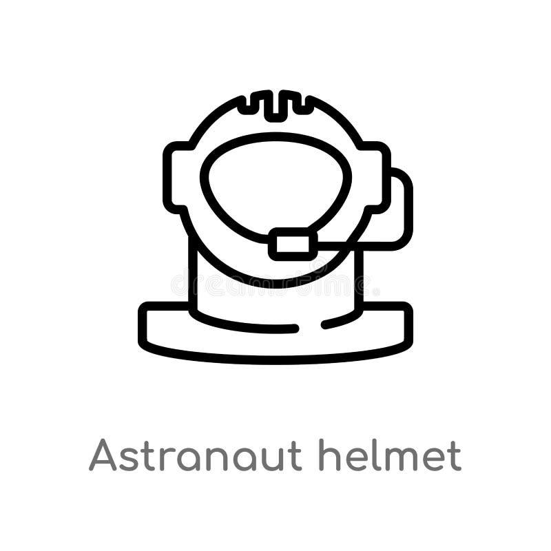 het vectorpictogram van de overzichts astranaut helm de geïsoleerde zwarte eenvoudige illustratie van het lijnelement van astrono stock illustratie
