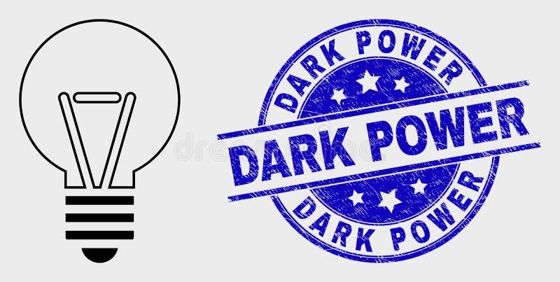 Het vectorpictogram van de Overzichts Elektrische Bol en Verbinding van de Nood de Donkere Macht stock illustratie