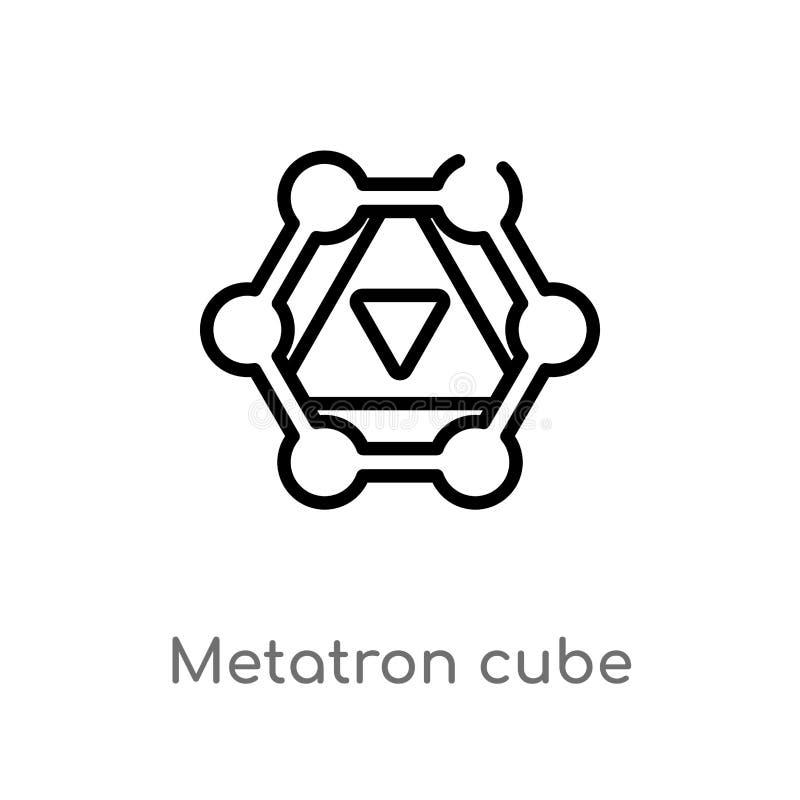 het vectorpictogram van de overzichts metatron kubus de geïsoleerde zwarte eenvoudige illustratie van het lijnelement van meetkun vector illustratie