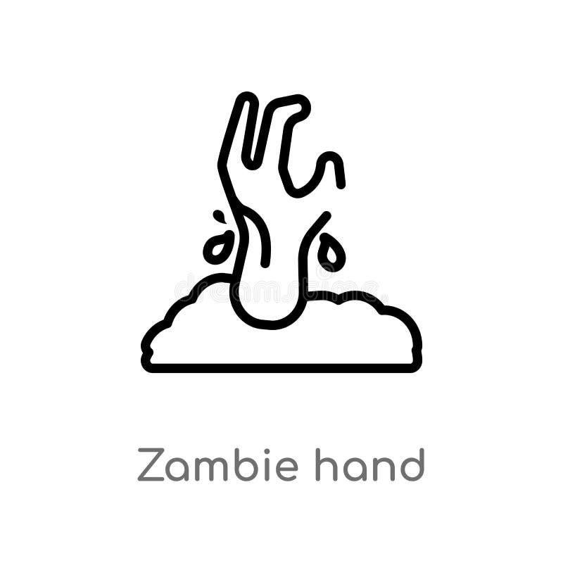 het vectorpictogram van de overzichts zambie hand de ge?soleerde zwarte eenvoudige illustratie van het lijnelement van ander conc royalty-vrije illustratie