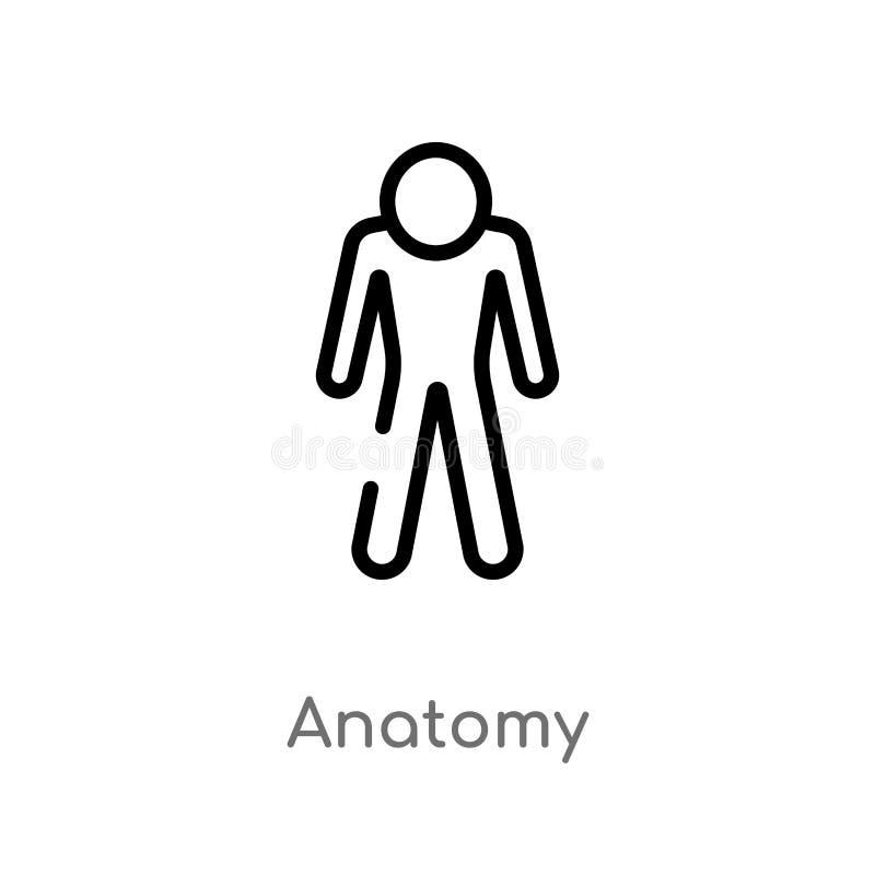 het vectorpictogram van de overzichtsanatomie de ge?soleerde zwarte eenvoudige illustratie van het lijnelement van gymnastiek en  vector illustratie
