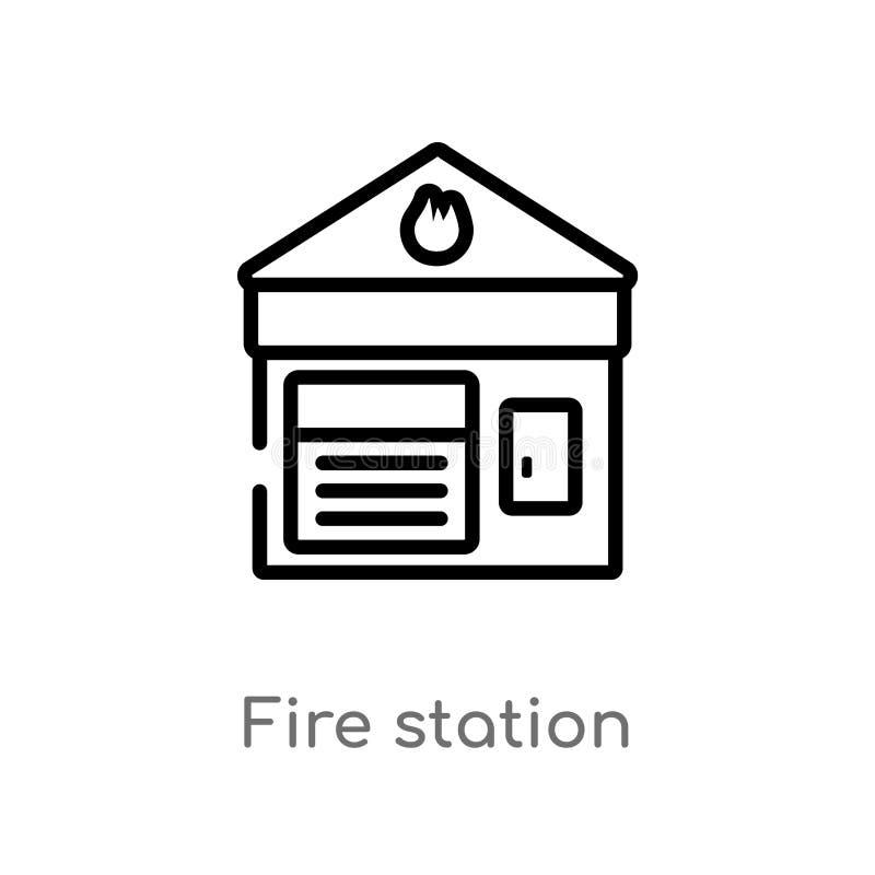 het vectorpictogram van de overzichtsbrandweerkazerne de geïsoleerde zwarte eenvoudige illustratie van het lijnelement van het co royalty-vrije illustratie