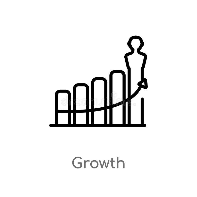 het vectorpictogram van de overzichtsgroei de ge?soleerde zwarte eenvoudige illustratie van het lijnelement van digitaal economie stock illustratie