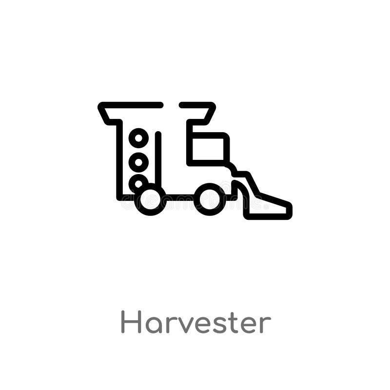 het vectorpictogram van de overzichtsmaaimachine de geïsoleerde zwarte eenvoudige illustratie van het lijnelement van landbouwcon stock illustratie