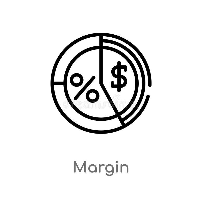 het vectorpictogram van de overzichtsmarge de geïsoleerde zwarte eenvoudige illustratie van het lijnelement van marketing concept royalty-vrije illustratie