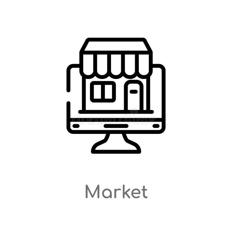 het vectorpictogram van de overzichtsmarkt de geïsoleerde zwarte eenvoudige illustratie van het lijnelement van digitaal economie stock illustratie