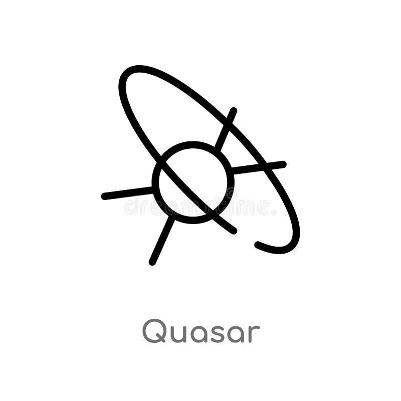 het vectorpictogram van de overzichtsquasar de ge?soleerde zwarte eenvoudige illustratie van het lijnelement van astronomieconcep vector illustratie