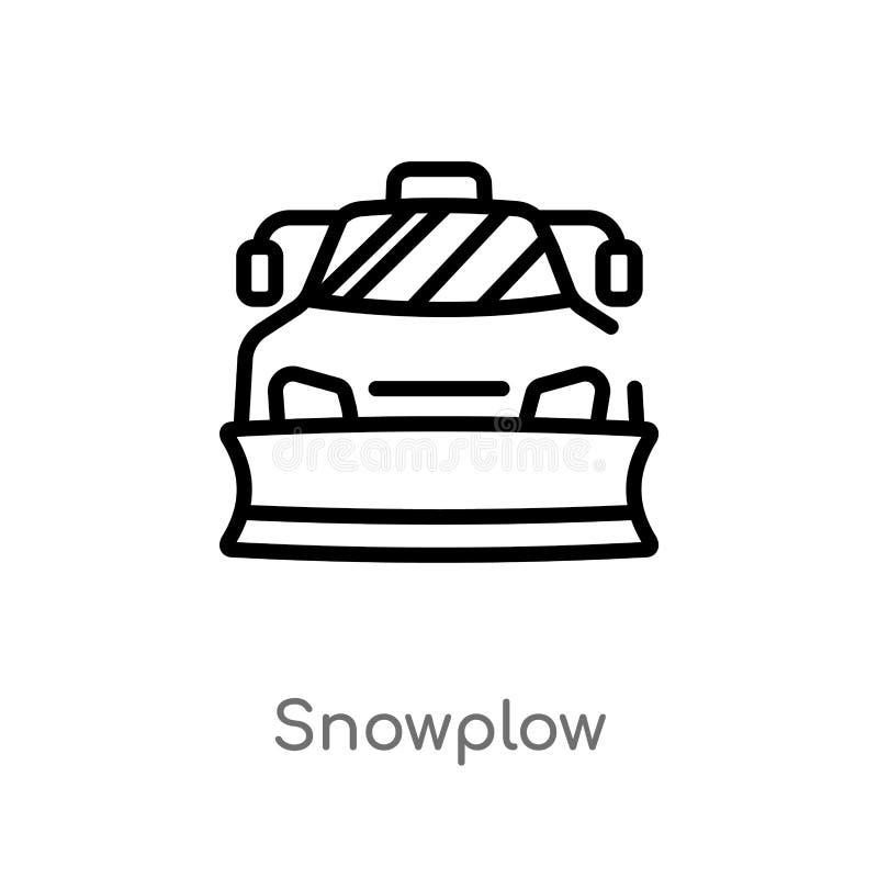 het vectorpictogram van de overzichtssneeuwploeg de geïsoleerde zwarte eenvoudige illustratie van het lijnelement van de winterco royalty-vrije illustratie