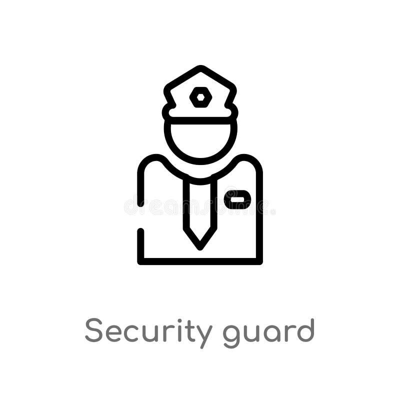 het vectorpictogram van de overzichtsveiligheidsagent de ge?soleerde zwarte eenvoudige illustratie van het lijnelement van museum royalty-vrije illustratie