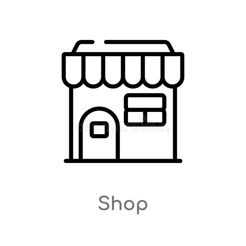 het vectorpictogram van de overzichtswinkel de ge?soleerde zwarte eenvoudige illustratie van het lijnelement van marketing concep stock illustratie