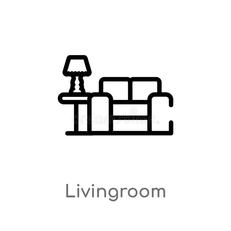 het vectorpictogram van de overzichtswoonkamer de geïsoleerde zwarte eenvoudige illustratie van het lijnelement van meubilair en  stock illustratie