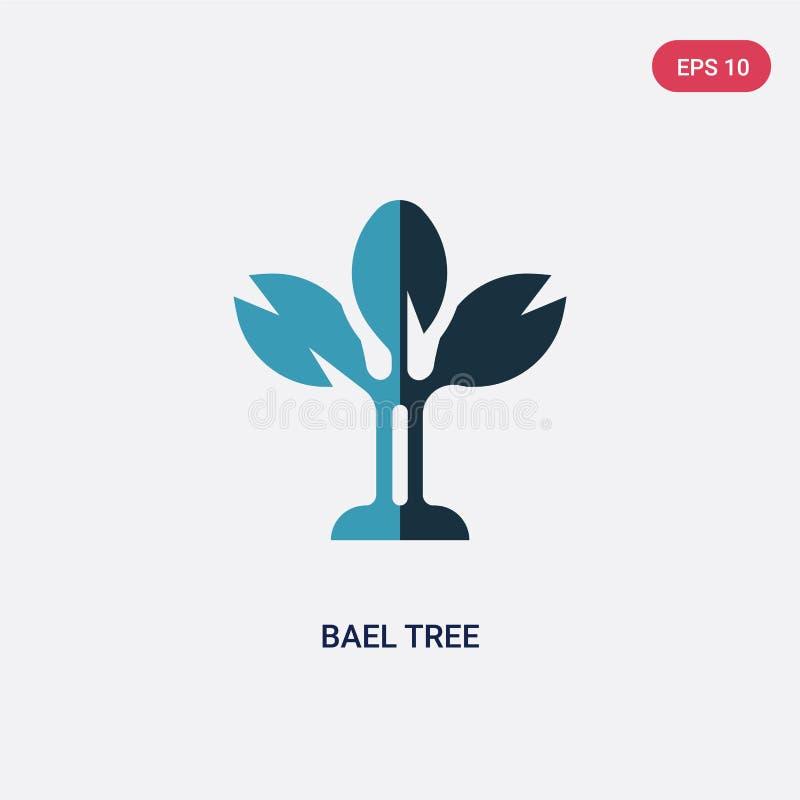 Het vectorpictogram van de twee kleuren bael boom van godsdienstconcept het geïsoleerde blauwe vector het tekensymbool van de bae royalty-vrije illustratie