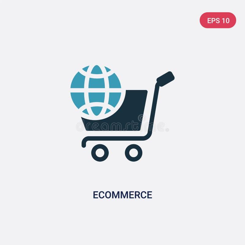 Het vectorpictogram van de twee kleurenelektronische handel van sociale media die concept op de markt brengen het geïsoleerde bla royalty-vrije illustratie