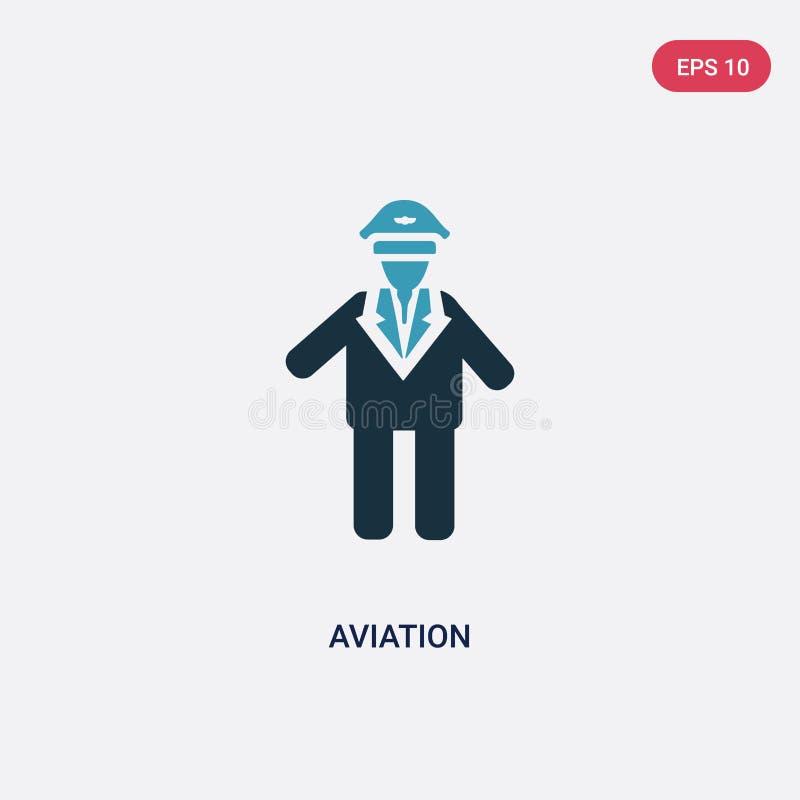 Het vectorpictogram van de twee kleurenluchtvaart van mensenconcept het geïsoleerde blauwe symbool van het luchtvaart vectorteken stock illustratie