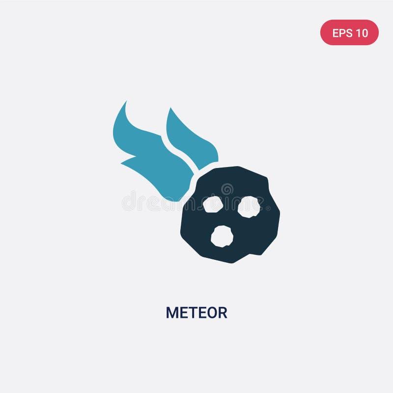 Het vectorpictogram van de twee kleurenmeteoor van het concept van de steenleeftijd het ge?soleerde blauwe symbool van het meteoo vector illustratie