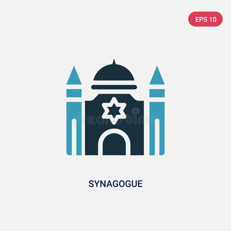 Het vectorpictogram van de twee kleurensynagoge van godsdienstconcept het geïsoleerde blauwe symbool van het synagoge vectorteken vector illustratie