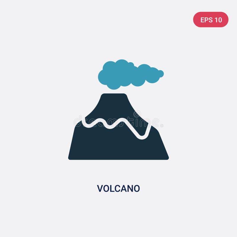 Het vectorpictogram van de twee kleurenvulkaan van het concept van de steenleeftijd het ge?soleerde blauwe symbool van het vulkaa royalty-vrije illustratie