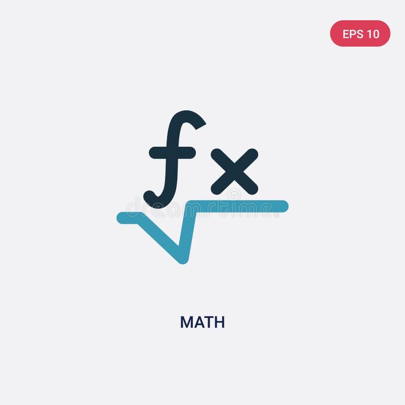 Het vectorpictogram van de twee kleurenwiskunde van tekensconcept het geïsoleerde blauwe symbool van het wiskunde vectorteken kan stock illustratie