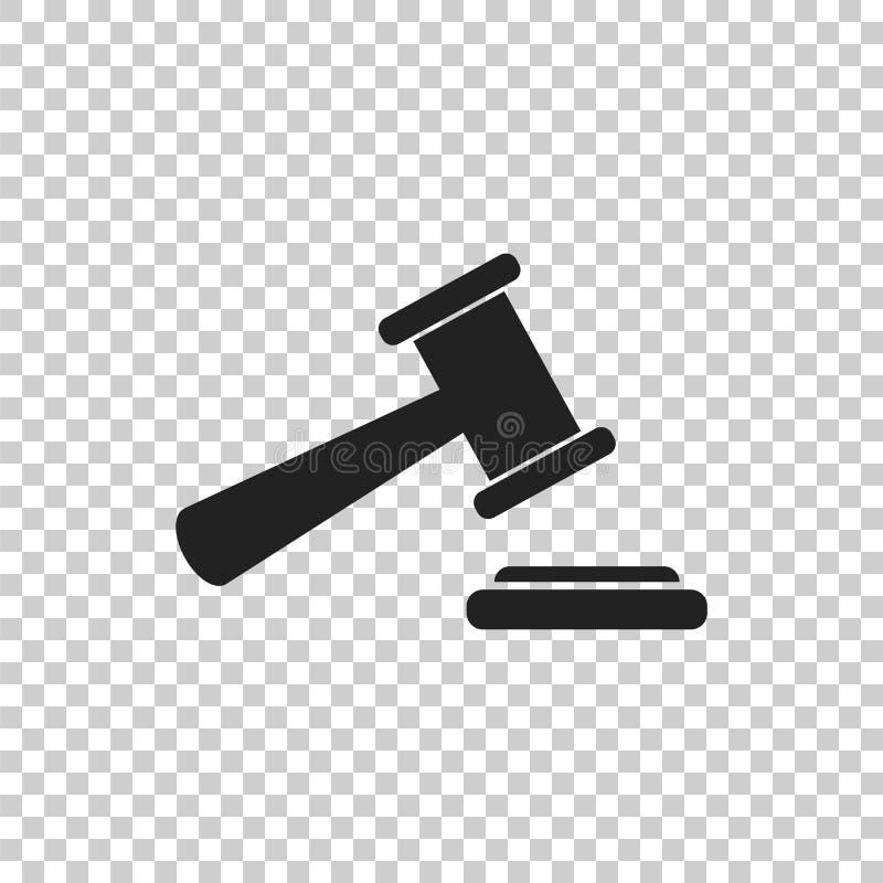 Het vectorpictogram van de veilingshamer Hof rechtbank vlak pictogram vector illustratie