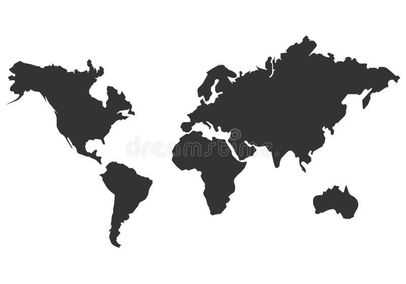 Het vectorpictogram van de wereldkaart eenvoudig vlak ontwerp stock illustratie