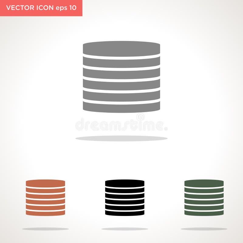 Het vectorpictogram van het gegevensbestand dat op witte achtergrond wordt geïsoleerd stock illustratie