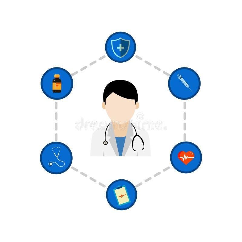 Het vectorpictogram van gezondheidsinfographics stock illustratie