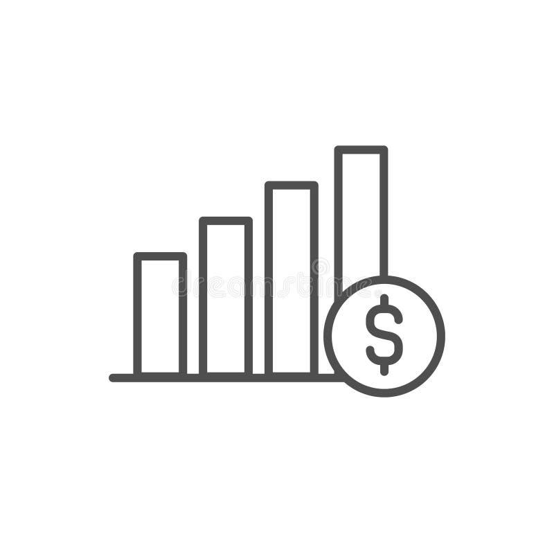 Het vectorpictogram van het grafiekgeld, Grafisch het overzichtsteken van de financiënvoortgangslijn, lineair dun symbool, vlak o royalty-vrije illustratie